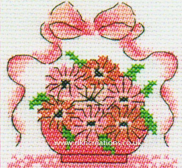 Pink Ribbon Foundation Pink Flowers In Bowl Mini Cross Stitch Kit